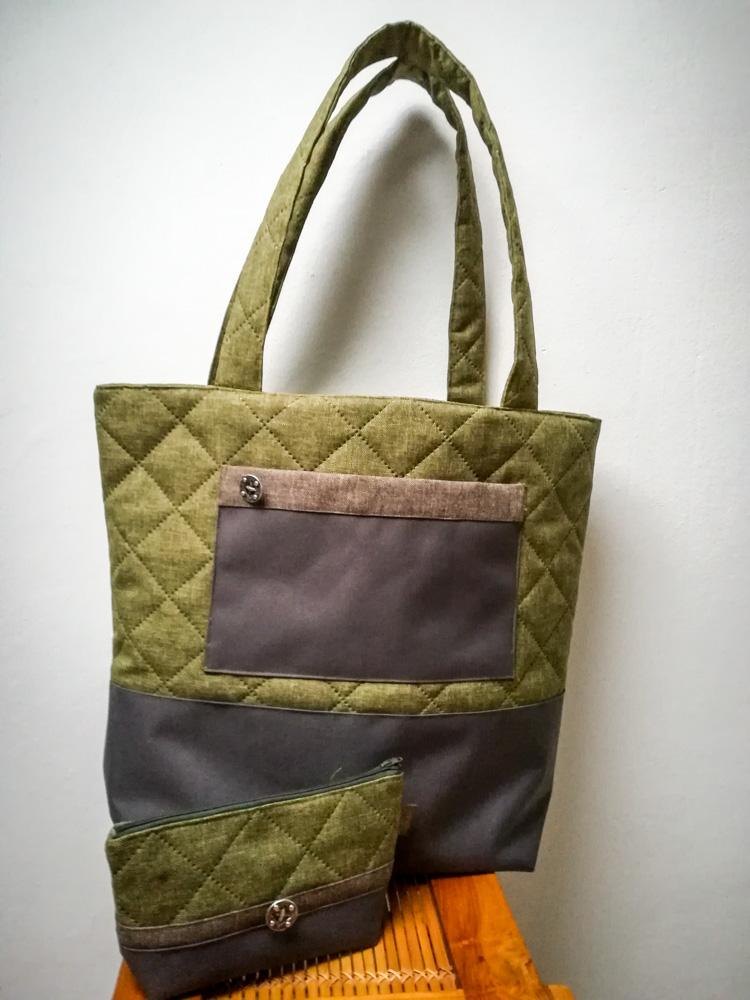 Big Shopper Einkaufstasche in grün, Aussenansicht mit kleiner Tasche